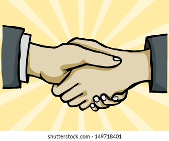hand shake with color background