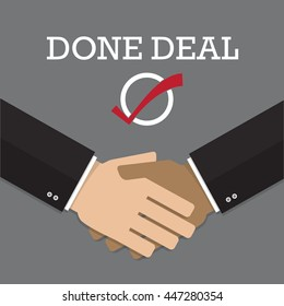 hand shake with done deal flat design vector illustration can be use as icon, background or presentation