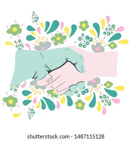 Hand shake with flowers ass truce concept. Isolated on white background. Flat Cartoon style. Vector illustration.