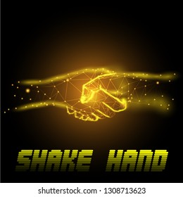 Hand shake golden colur for good deal concept