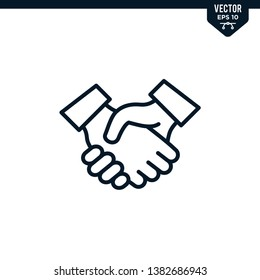 Hand shake icon collection in outlined or line art style, editable stroke vector