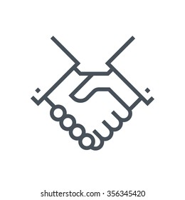 Hand shake icon, customer service icon suitable for info graphics, websites and print media and  interfaces. Line vector icon.
