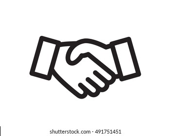 Hand shake icon symbol suitable for info user interfaces, graphics, websites and print media. Vector, flat outline icon, clip art.