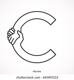 Hand Shake Incorporated in Letter C Concept.
