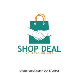 hand shake online shop vector logo design template