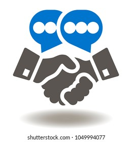 Hand Shake Speech Bubbles Icon Vector.  Relationship Partnership Illustration. Success Conversation Agreement Talk Deal Logo. Handshake Symbol.