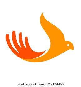 Hand shape like bird. Care logo for health, cosmetology company. Vector EPS.