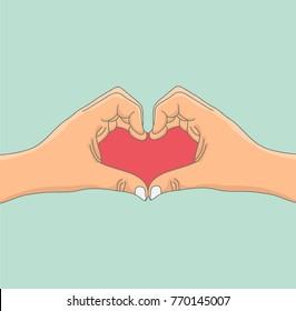 Hand shaped heart Love Symbol