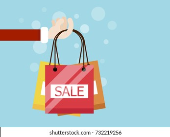 hand with shopping bag flat design vector illustration