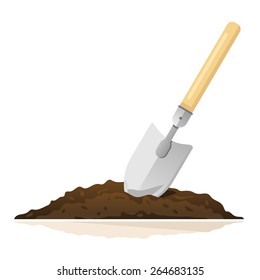 Hand shovel in ground, gardening tools equipment, spring work, isolated