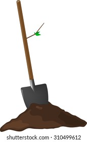 Hand shovel in ground with leaf, gardening tools vector emblem