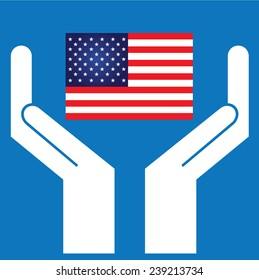 Hand showing American Flag. Vector illustration.
