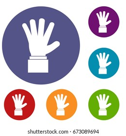 Hand showing five fingers icons set in flat circle reb, blue and green color for web