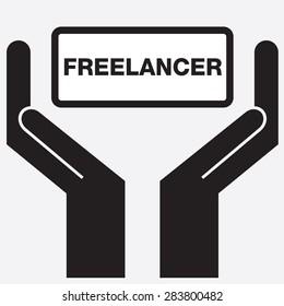 Hand showing freelancer sign icon. vector illustration