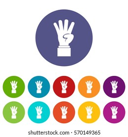 Hand showing number four set icons in different colors isolated on white background