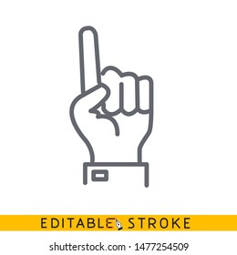 Hand showing one finger or counting one. Sketch line flat icon of hand. Modern vector illustration concept. Editable outlines stroke. - Vector