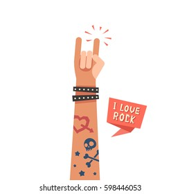 A hand up showing Rock sign. A hand with tattoos and leather bracelet. I love Rock ribbon. Colorful vector illustration in flat style isolated on white