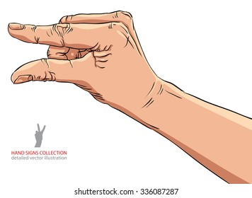 Hand showing small value, or use it to put some small object between the fingers, detailed vector illustration.