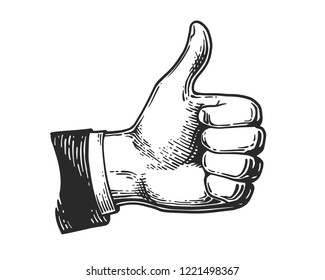 Hand showing symbol Like. Making thumb up gesture icon. Vintage black engraving illustration for web, poster. Hand drawn design element isolated on white background. Vector illustration.
