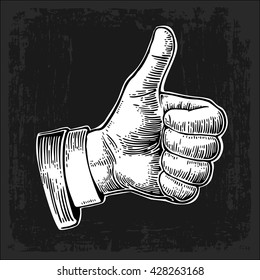 Hand showing symbol Like. Making thumb up gesture. Vector white vintage engraved illustration isolated on a dark background. Sign for web, poster, info graphic