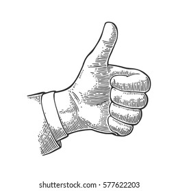Hand showing symbol Like. Making thumb up gesture. Vector black vintage engraved illustration isolated on white background. Sign for web, poster, info graphic