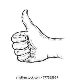 Hand showing symbol Like. Making thumb up gesture. Vector black vintage engraved illustration isolated on a white background. Sign for web, poster, info graphic