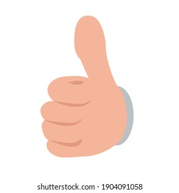 Hand showing thumbs up button from front view. Flat and solid color vector illustration.