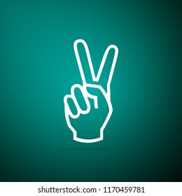 Hand showing two finger icon isolated on green background. Victory hand sign. Flat design. Vector Illustration