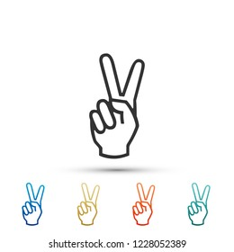 Hand showing two finger icon isolated on white background. Victory hand sign. Set elements in colored icons. Flat design. Vector Illustration