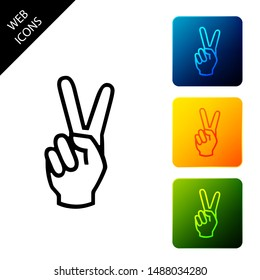 Hand showing two finger icon isolated on white background. Victory hand sign. Set icons colorful square buttons. Vector Illustration
