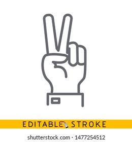 Hand showing two fingers icon. Sketch line flat icon of hand. Modern vector illustration concept. Editable outlines stroke. - Vector