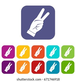 Hand showing victory sign icons set vector illustration in flat style In colors red, blue, green and other