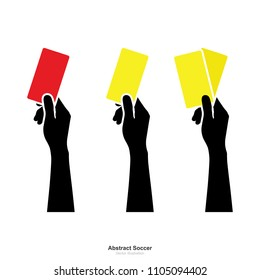 Hand showing yellow card and red card on white background. Abstract sign and symbol for soccer sport. Vector illustration.