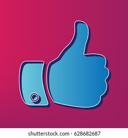 Hand sign illustration. Vector. Blue 3d printed icon on magenta background.