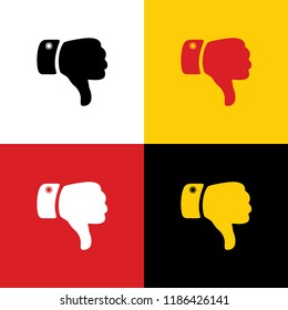 Hand sign illustration. Vector. Icons of german flag on corresponding colors as background.