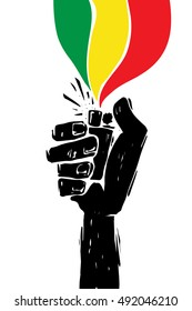 Hand sign with lighter, grunge template for your slogan, text or announcement. Reggae festival poster. Music background.