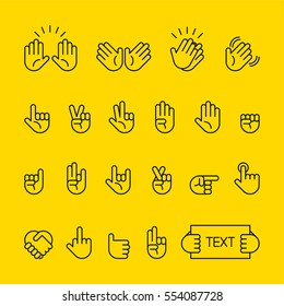 hand sign line icon vector illustration flat design