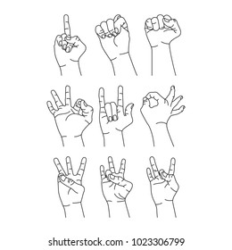 Hand sign line illustration vector isolated collections