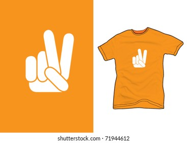 Hand sign on a orange shirt