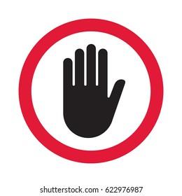 Hand sign push. Vector illustration.