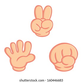 hand sign of rock paper scissors game isolated vector on white background