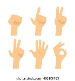 Hand sign set.  Flat finger symbol isolated on white background.