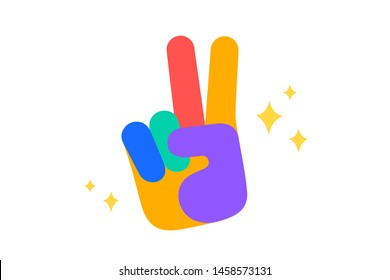 Hand sign victory or peace. Fun Sticker. Colorful fun sticker - hand up sign Victory or Peace with stars. Design cartoon stickers, pins, badges isolated on white background. Vector Illustration