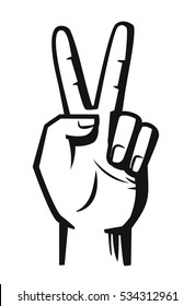 hand sign victory vector black illustration on white
