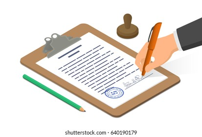 Hand signing document on clipboard accompanied by pencil and stamp. Isometric vector illustration