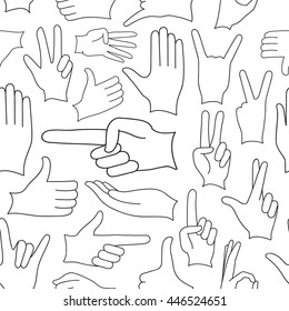 Hand signs icons set pattern