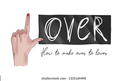 hand signs l letter to make lover on black sticker