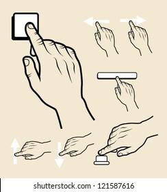 Hand signs (press, push, sliding, click).