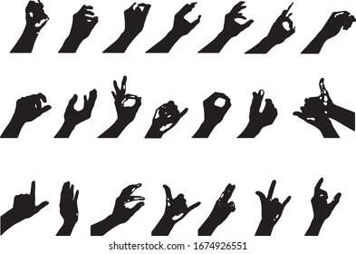 hand silhouette collection in gestures on white background