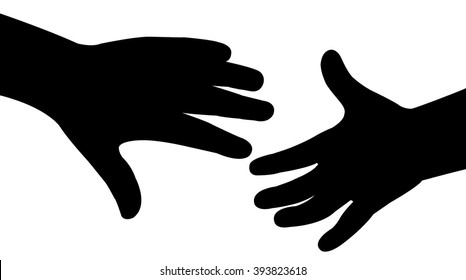 hand in hand silhouette vector